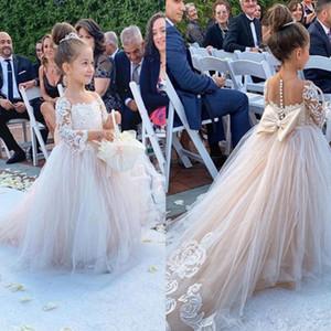 Bow Dantel Aplikler Uzun Kollu İçin Düğün Doğum Balo ilk komünyon Elbise ile Pageant Çiçek Kız Elbise
