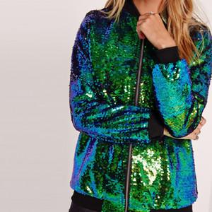 Sonbahar Kadınlar Bombacı Ceket Uzun Kollu Fermuar Streetwear Ceket Preppy Gevşek Casual Temel Coat Payet Coat Yeşil