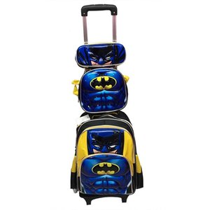 Arabası Çanta 3D Karikatür Okulu Rolling sırt çantası Çanta kız erkek okul çocukları arabasının İçin Wheels ile Sırt çantası çocuk tekerlekli