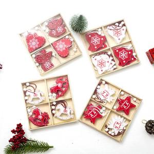 Weiß Rot Weihnachtsbaum Ornament DIY hölzernes hängendes Anhänger Geschenke Angel Snow Bell-Elk-Stern-Weihnachtsdekorationen für Haus