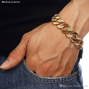 High Quality 24K Solid Gold Plated MIAMI CUBAN LINK Shiny Diamond Bracelet Hip Hop Bling Jewelry Hipster Men Wristband Bangle