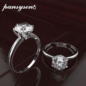 PANSYSEN mejores anillos de compromiso de la marca para la Mujer 100% real de plata 925 joyas creadas regalos de la joyería de Moissanite piedras preciosas anillo de Bellas