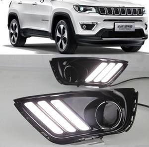 1 juego de luces LED DRL para automóvil con señal de color amarillo Función de relé Luz diurna para el Jeep Compass 2016 2017