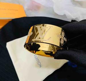 2019 El encanto y la Clásica de ancho brazalete de Diseño de titanio brazalete de acero amor punk con diamantes chispa de la Mujer y regalo del hombre joyas pulsera PS