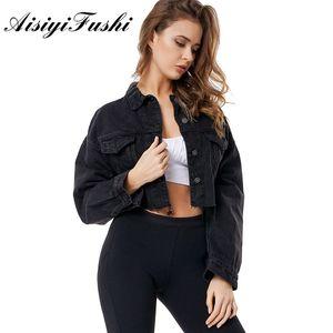 AISIYIFUSHI Jeans Jacke Frauen Schwarz Boyfriend-Jeans-Jacke Frauen-Denim-Jacken Altschwarz Crop Top Langarm-Jacke Mäntel CY200515