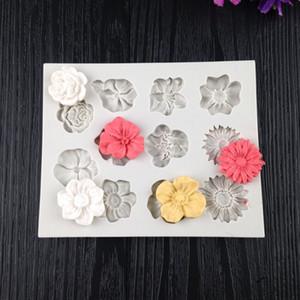 DIY para hornear Herramientas Flor pasta de azúcar del molde de yeso de sílice molde del jabón gel de vela molde de pastel solo agujero Herramientas DHL WX9-1914