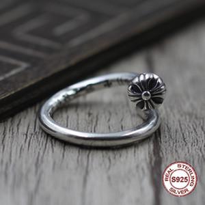 S925 чистое серебро мужское кольцо индивидуальность ретро панк стиль крестик, милитари цветок классическое кольцо подарок для вашего любовника 2019 новый