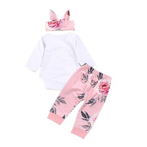 2018 Baby Girls Clothes Autumn Baby Letter Romper Set Infant Newborn Baby Cotton Rose Jumpsuit For Girls
