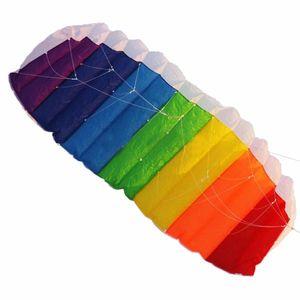 Горячая распродажа 1.4mpower двойной линии трюк парашюта Parafoil Power Sport Kite Parachute Rainbow Nice Beach Cite с 2 шт. 30 м высокого качества нейлоновые летающие линии