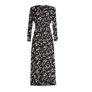 2019 Summer Black 4 5 Sleeve V Neck Floral Daisy Print Elastic Waist Dress Casual Fashion Long Dresses M7163061
