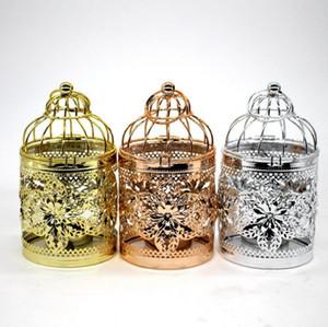 Vogelkäfig Kerzenhalter Luxus Hochzeit dekorieren Kerzenhalter Rose Gold aushöhlen Metall Kandelaber Gold silbrig Home Dekoration CLS282