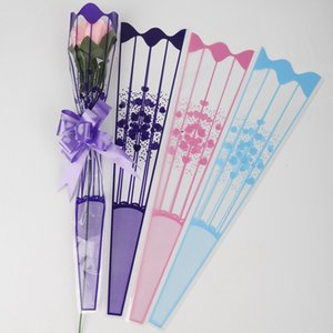 100pcs lot 9*34cm Gift Packaging Transparent Poly Bag Colorful Heart Pattern Cellophane Bag for Rose Bouquet Flower Packaging