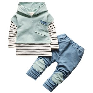 3 Pcs Sets baby clothes Toddler Boys Girls Clothing Autumn Long Sleeve Striped Hoodie Tops + Denim Pants Boys Sets Sui #E