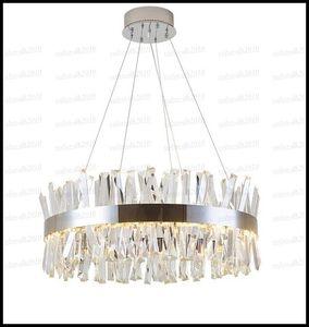 Luxo projeto redondo de cristal Lustres Iluminação Lâmpadas Pingente Modern Luxury Dinning Room Living Room Luzes Chrome LED Lamp LLFA