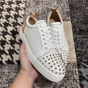 Moda Tasarımcısı Marka Çiviler Toe Junior X Sneakers Flats Adam Erkekler Için Kırmızı Alt Ayakkabı, Kadın Parti Severler Tuval Deri Sneakers EU35-47