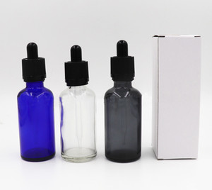Glass Dropper Bottle 50ML Vape Juice Empty E Cig Liquid Colorful Dropper Bottle 30 ml With Childproof Caps For Eliquid Ecig Essential Oil