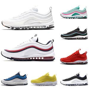 nike air max 97 97s Großhandel Schuhe Männer Frauen OG Kissen Triple-White Gold KPU Kunststoff Günstige 97 Trainingsschuhe Designer-Turnschuhe Laufschuhe