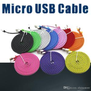 2020 Plano Noodle Braid Micro / tipo c Cabo USB 3M 10FT Para para Samsung Galaxy S9plus S8 Note8 Universal para Android estender mais cabo 3M