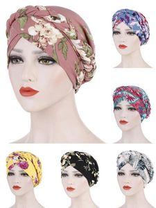 Flower Print Muslim Turban Scarf For Women Islamic Inner Hijab Caps Arab Wrap Braid Hat Head Bonnet Beanie Covers Femme Musulman