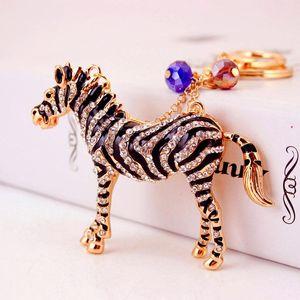 Животное Zebra Horse Key Chean Ceantan Car Keychain Аксессуары Rhinestone Эмаль капельницы Нефть Сплав Ключ Держатель Женская Сумка Очарование