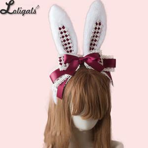 LOLITA Handmade Rabbit Ears Headband KC Multicolor Cute Plaid Cosplay Hairband