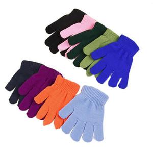 Çocuklar Örme Eldiven Çocuk Sihirli Kış Sıcak Eldiven 18 Şeker Renkler Eldiven Erkek Kız Örgü Eldiven Öğrencileri Açık Eldiven Eldivenler 5-13Y