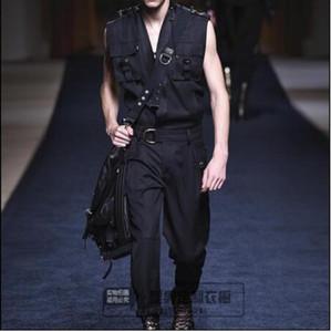 Горячий новый прилив мужской комбинезон подиум мода личность случайные свободные брюки британский Молодежный парикмахер мужчины без рукавов комбинезоны 27-42
