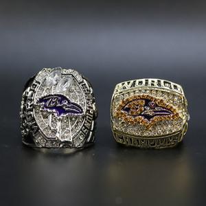2pcs / set 2000 2012 Baltimore Fußball-Weltmeisterschaft Ring Wholesale freies Verschiffen