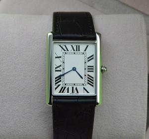 سوبر رقيقة سلسلة الأعلى أزياء الكوارتز الرجال النساء الفضة الهاتفي جلدية سوداء حزام ساعة اليد الكلاسيكية مستطيل تصميم اللباس ساعة 546L