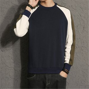 Men Colorblock Long Sleeve T Shirt Loose Round Neck Patchwork Designer Tshirt Men Clothing Spring Trend New Male Casual Slim Tee Tops