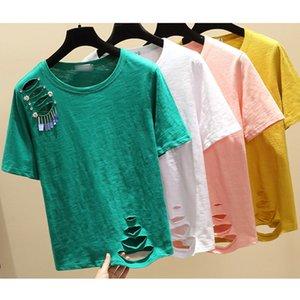 GGRIGHT Trou T-Shirt Femme Vogue Femme Vêtements Harajuku T-shirt des femmes d'été 2019 T-shirt manches courtes en coton T-shirt Femme T200613