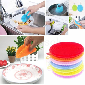 Multi-function color silicone dishwashing brush Kitchen household double-sided cleaning brush dish cloth Decontamination non-sti DA561