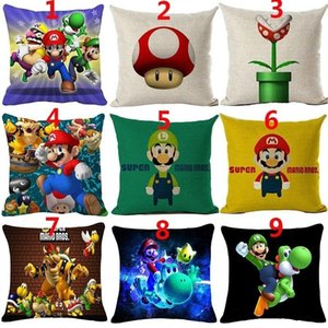 Super Mario Brothers Pillowcase Super Mario Square Cotton Linen Pillow Cover Cartoon Home Decor 18 Inches Sofa Cover