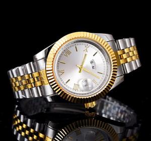 Anillo de dientes 40 mm fecha del día relojes de lujo nuevos hombres y mujeres de la marca de moda de fecha fecha nuevo reloj de acero relojes de cuarzo para hombres