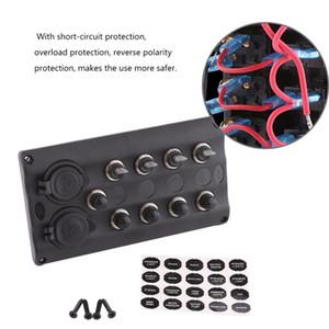 Freeshipping 4 Gang Toggle Switch Panel 12V 24V Impermeable Marino Del Coche Interruptor de Toggle Panel Interruptores de Circuito Con Cargador USB