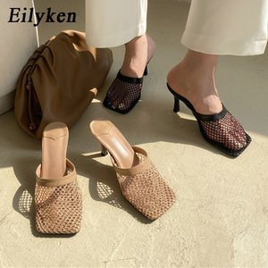 Eilyken New Hollow Breathable Mesh Woman Thin High Heels Slippers Summer Vintage Square Toe Sandals Mules Femme Shoes Pumps Y200702