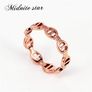 Midnite estrella marca de joyería para las mujeres joyería de vapor punk bloqueo del anillo del círculo del anillo de bodas H Fashion Party