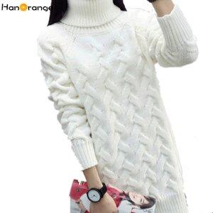 HanOrange 가을 겨울 한국어 터틀넥 두꺼운 느슨한 트위스트 롱 여성 스웨터 화이트 / 레드 / 블랙