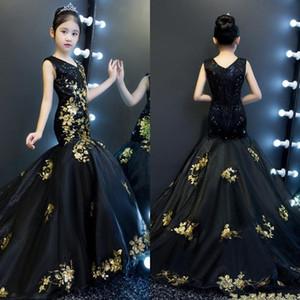 2020 Oro y negro de la sirena de los vestidos del desfile de chicas V-cuello V Volver lentejuelas vestido de tul Niño Pista niños niña de las flores