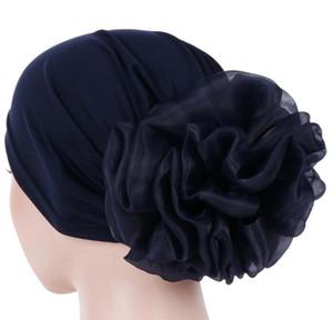 Mode féminine Fleur musulmane Ruffle Cancer Chemo Chapeau Bonnet écharpe Turban Head Fit Adult Wrap Cap gros Freeship GB938