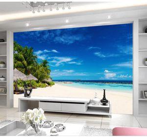 классические обои для стен пляжа, голубое небо, белые облака, море, красивые пейзажи, фон, роспись стен