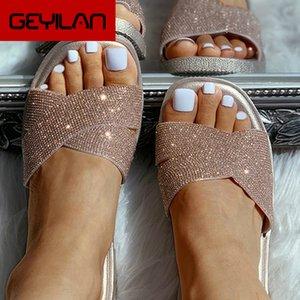 Bling Bling Women Slippers 2020 New Design Casual Sandals Platform Flat Sole Beach Transparent Mules Ladies Slides house