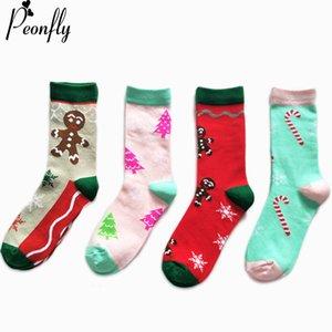 Noel Ağacı Küçük Şemsiye Gingerbread Dikiş Renk Çorap Moda Kişilik Karikatür Desen Pamuk Çorap 2 adet = 1 pairs