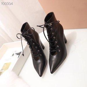 ГОРЯЧАЯ Luxury Фирменная из натуральной кожи женские на шнуровке ботинки конструктора высокого качества типа моды женские короткие сапоги женские туфли 35-39 с коробкой