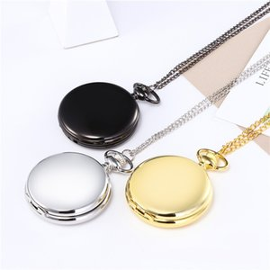 lot of 10 PCS New 2019 Glossy Simple Fashion Casual Pocket Watch Big pocket watch With Necklace High quality free shipping
