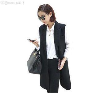 Оптово-продажа горячей новый корейские женщин жилет в длинном свободных твердых плюс размера XXXL женщин жилетов 7172