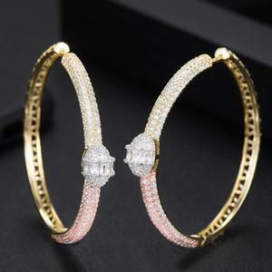 Charm Godki Knot Cubic Zircon Dichiarazione Big Hoop orecchini per le donne Wedding Dubai Bridal Round Circle 2021