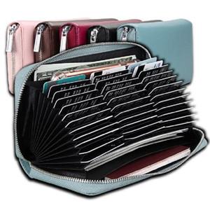 Uzun cüzdan Depolama Çanta fermuar 36 Yuvaları kartı sahibi cüzdan RFID Engelleme Kart sahibi durumda akordeon kart organizatörü deri