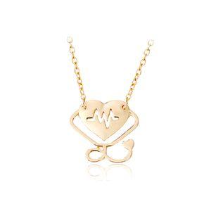 10 nuevo Heartbeat Doctor Hollow love Heart Stethoscope Cardiogram Collar Colgante Inglés alfabeto amor corazón jesus collar Joyería