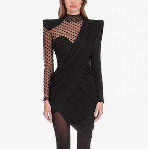 Premium New Style Top Quality Original Design Women's Sexy Dress Polka Dot Mesh Perspective Slim Pack hip Draped Irregular Dress